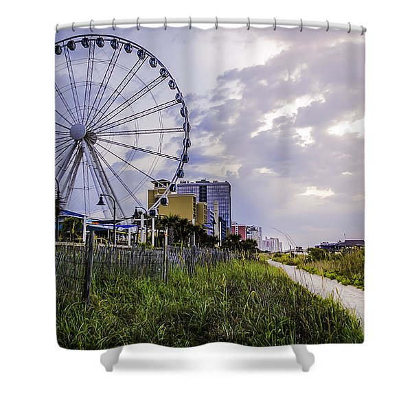 The Myrtle Beach, South Carolina Skywheel At Sunrise. Shower Curtain