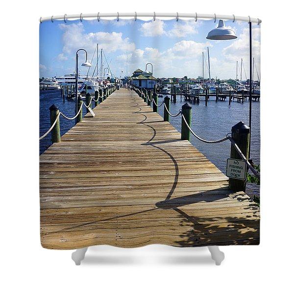 The Naples City Dock Shower Curtain