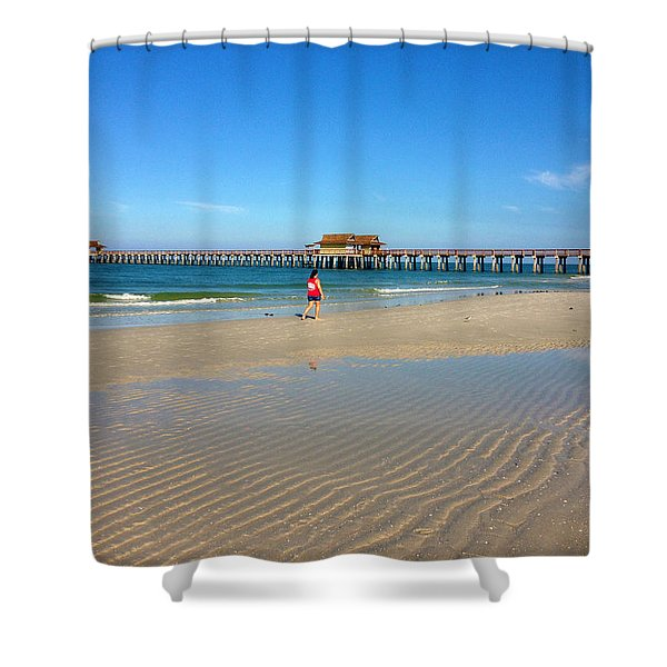 The Naples Pier At Low Tide Shower Curtain