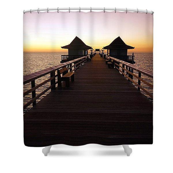 The Naples Pier At Twilight - 01 Shower Curtain