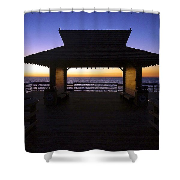 The Naples Pier At Twilight - 02 Shower Curtain