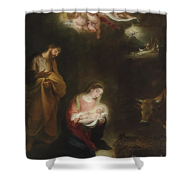 The Nativity With The Annunciation To The Shepherds Beyond Shower Curtain