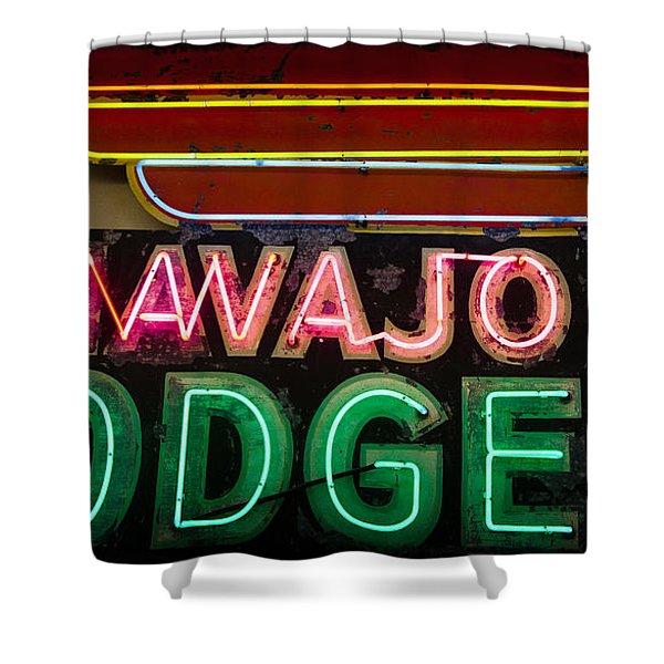 The Navajo Lodge Sign In Prescott Arizona Shower Curtain