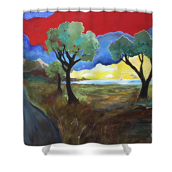 The New Road Shower Curtain