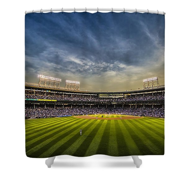 The New Wrigley Field With Pretty Sunset Sky Shower Curtain