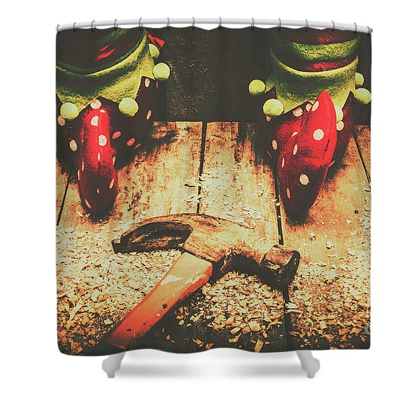 The North Pole Toy Factory Shower Curtain