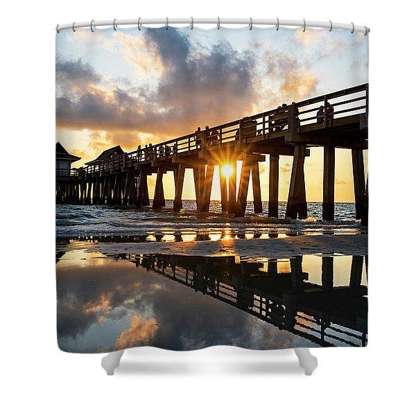 Naples Pier At Sunset Naples Florida Shower Curtain