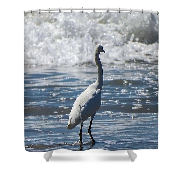 Egret And The Waves Shower Curtain