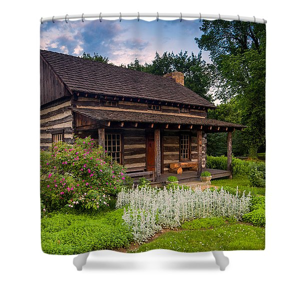The Old Log Home  Shower Curtain