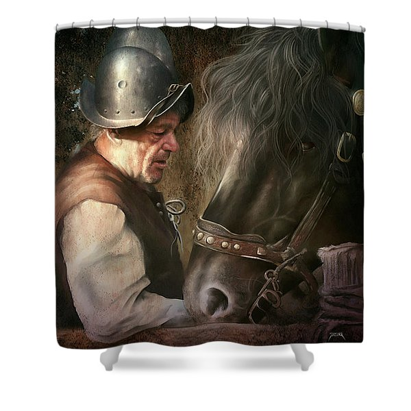 The Old Man And His Trusty Friend Shower Curtain