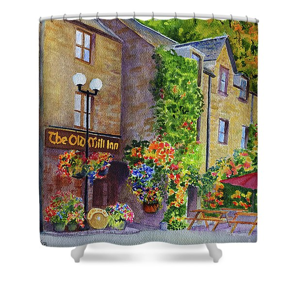 Shower Curtain featuring the painting The Old Mill Inn by Karen Fleschler