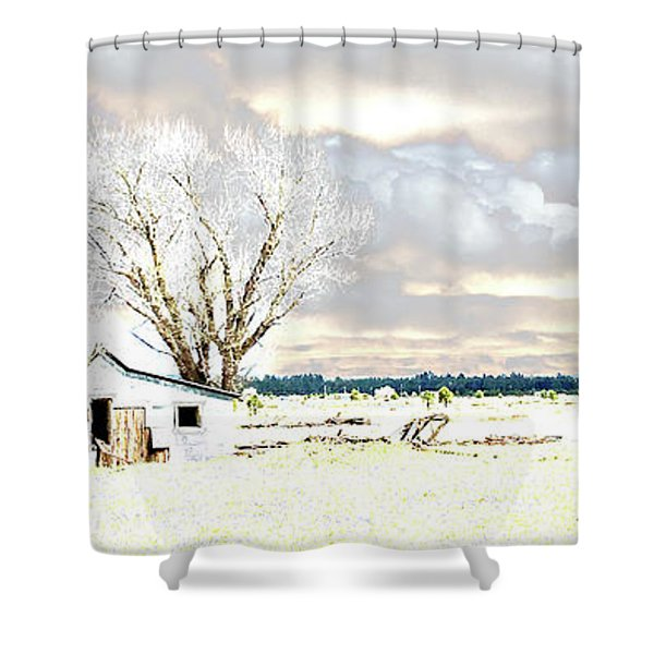 The Old Winter Homestead Shower Curtain