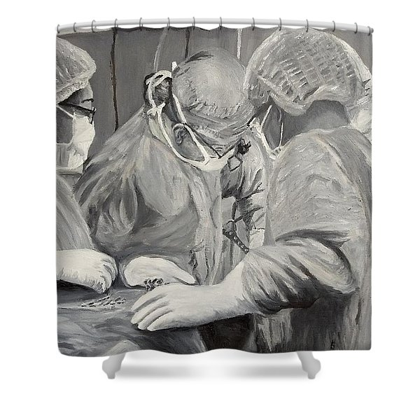 Shower Curtain featuring the painting The Operation by Kevin Daly