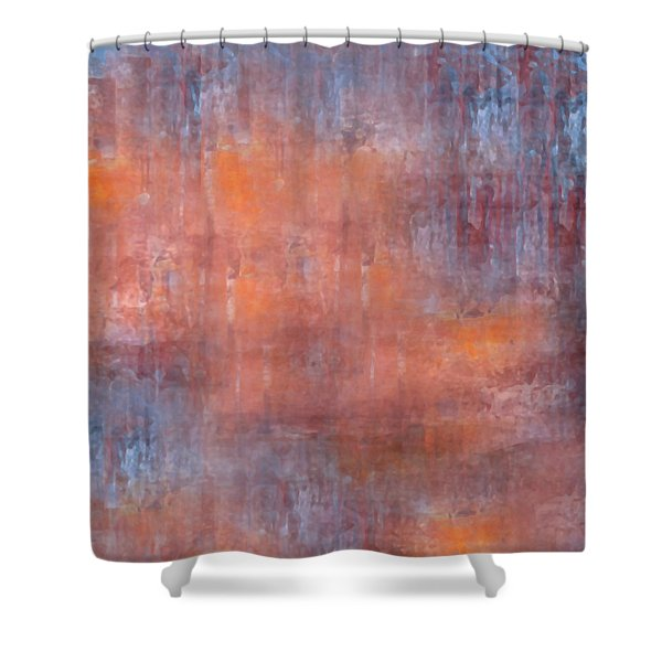 Shower Curtain featuring the digital art The Orange Fog by Mihaela Stancu