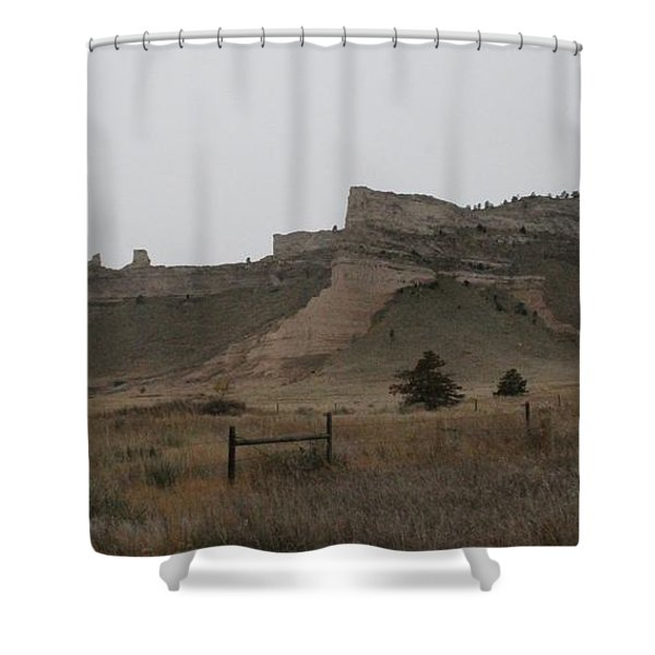 The Oregon Trail Scotts Bluff Nebraska Shower Curtain