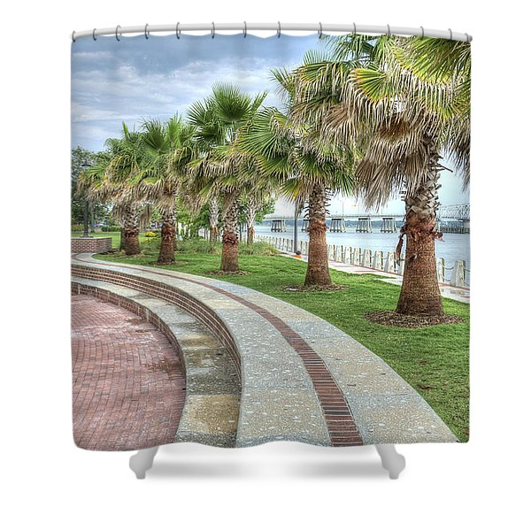 The Palms Of Water Front Park Shower Curtain