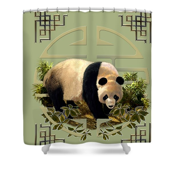 The Panda Bear And The Great Wall Of China Shower Curtain