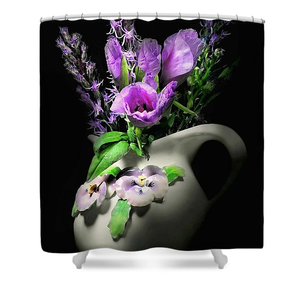 The Pansy Vase Shower Curtain