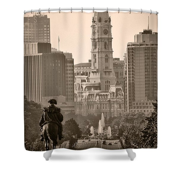 The Parkway In Sepia Shower Curtain