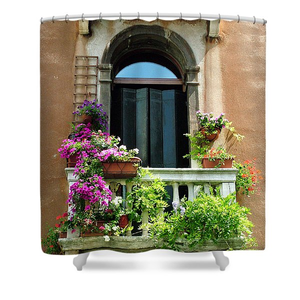 The Peach Wall With Fushia Flowers Shower Curtain