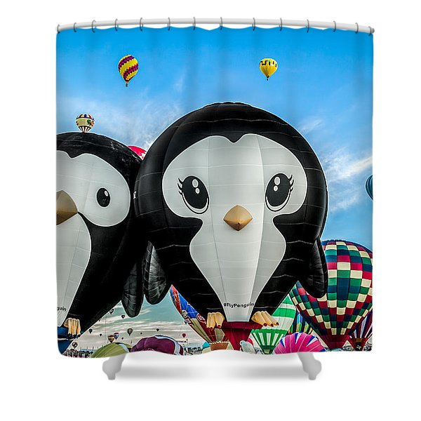 Puddles And Splash - The Penguin Hot Air Balloons Shower Curtain