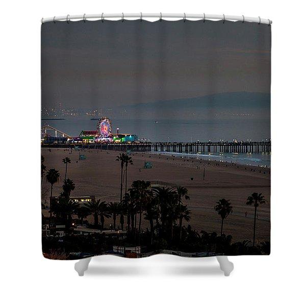 The Pier After Dark Shower Curtain