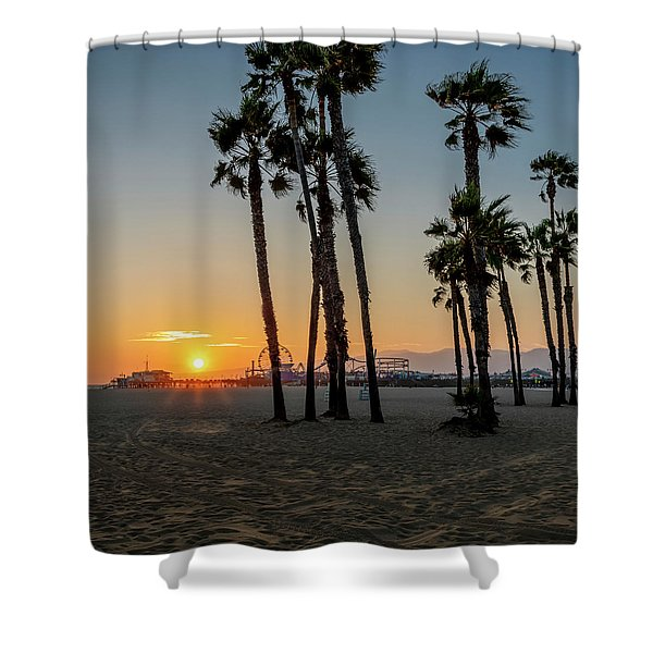 The Pier At Sunset - Square Shower Curtain