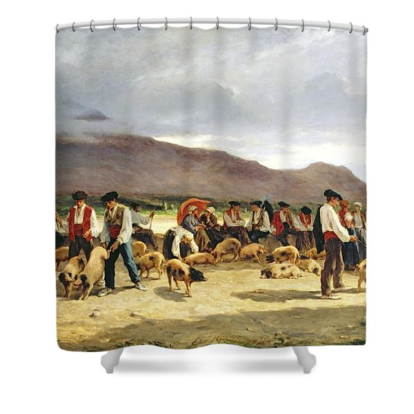 The Pig Market Shower Curtain