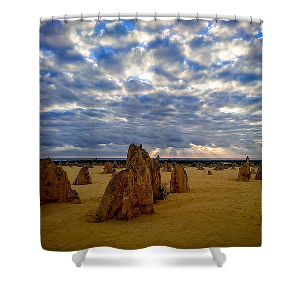 The Pinnacles Sunset Shower Curtain