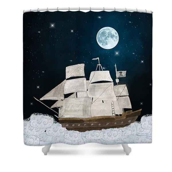 The Pirate Ghost Ship Shower Curtain