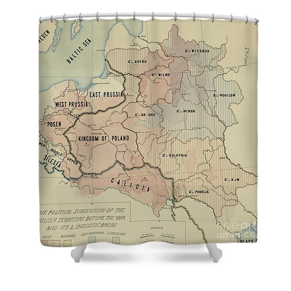 The Political Subdivision Of The Polish Territory Before The War And Its Linguistic Areas, 1918 Shower Curtain
