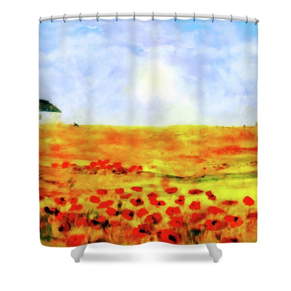 The Poppy Picker Shower Curtain
