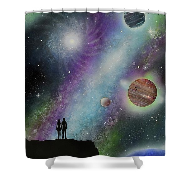 Shower Curtain featuring the painting The Possibilities by Mary Scott