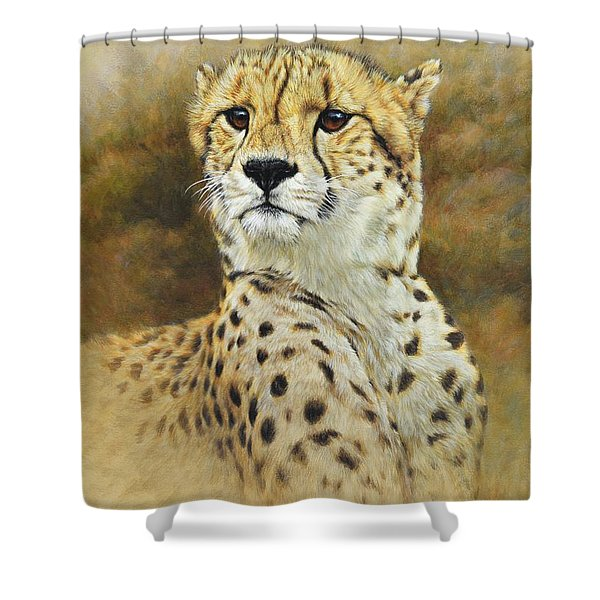 Shower Curtain featuring the painting The Prince - Cheetah by Alan M Hunt