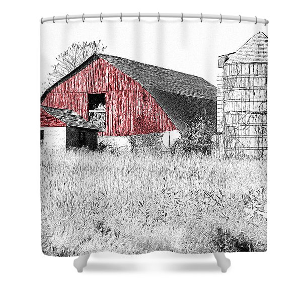 The Red Barn - Sketch 0004 Shower Curtain