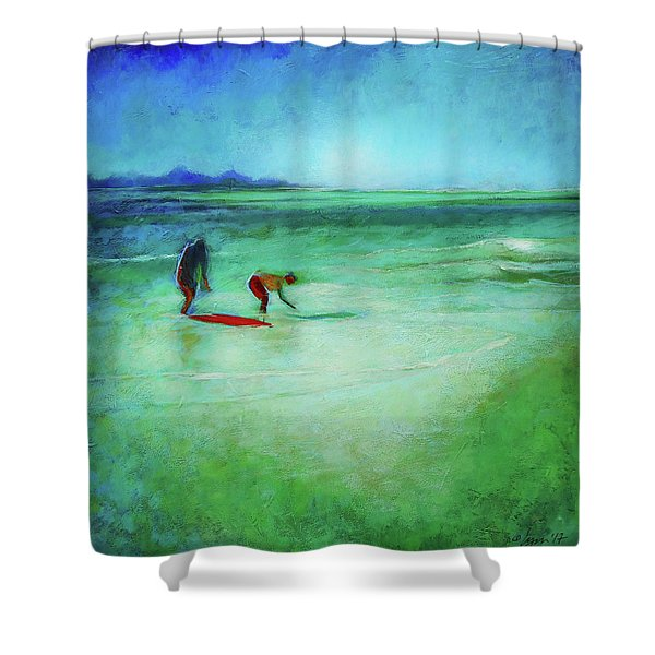 The Red Boogey Board Shower Curtain