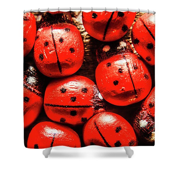 The Red Bug Out  Shower Curtain