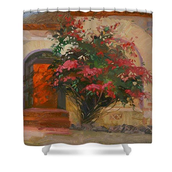 The Red Door - Catalina Island Shower Curtain