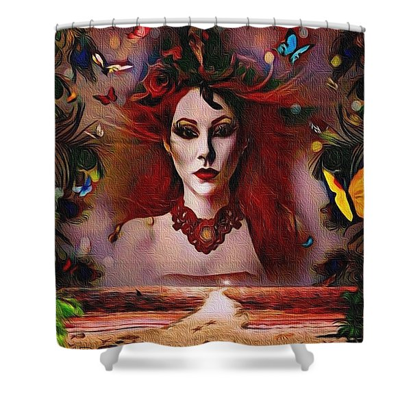 The Red Lady Shore Shower Curtain