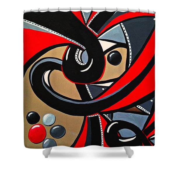 Red And Black Abstract Art Painting Shower Curtain