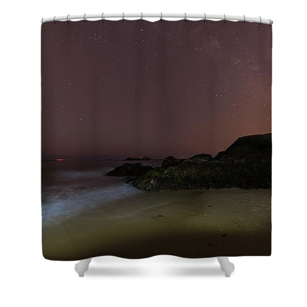 The Red Moon Rising On Singing Beach In Manchester-by-the-sea Ma Milky Way Shower Curtain
