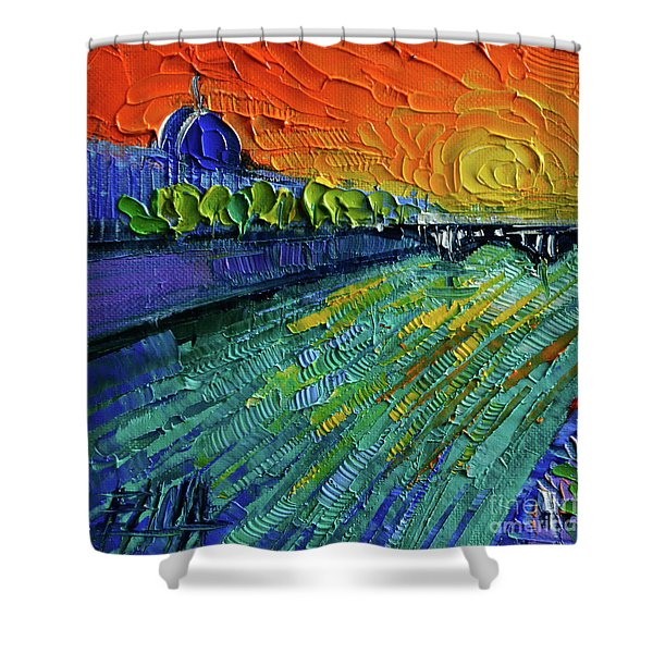 The Rhone River Palette Knife Oil Painting By Mona Edulesco Shower Curtain