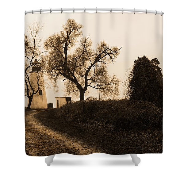 The Road To Turkey Point Lighthouse Shower Curtain