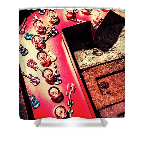 The Rock N Roll Concert Neon Shower Curtain