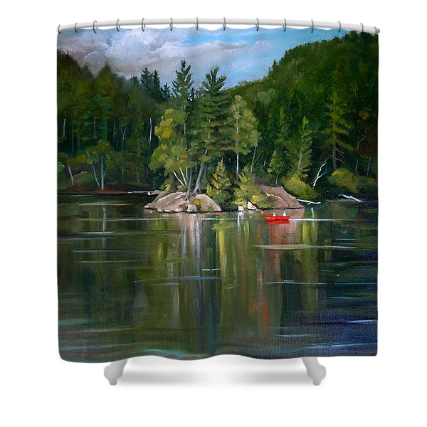 The Rock On Mirror In Woodstock New Hampshire Shower Curtain