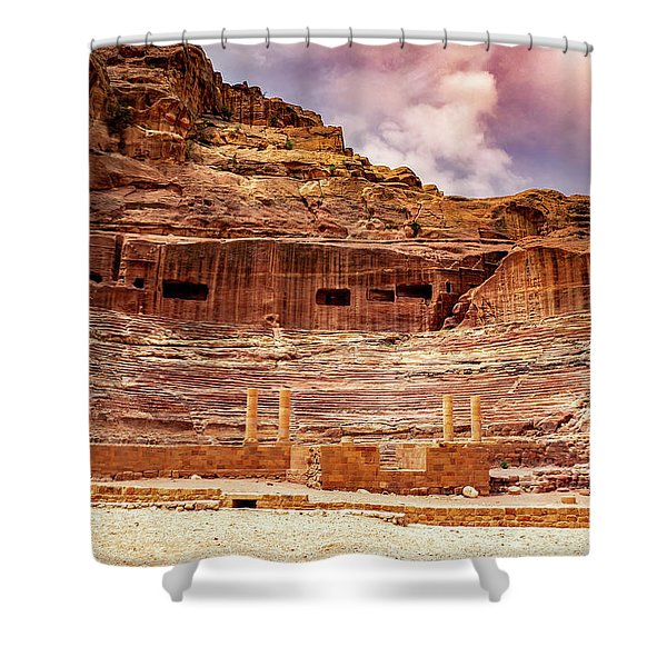 The Roman Theater At Petra Shower Curtain