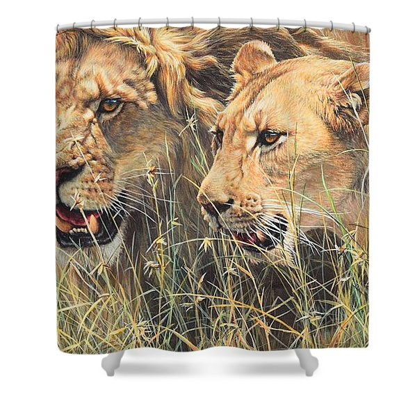 Shower Curtain featuring the painting The Royal Couple II by Alan M Hunt