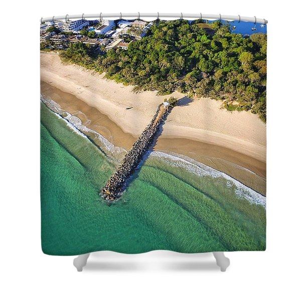 The Sea Wall Near Noosa Main Beach Shower Curtain