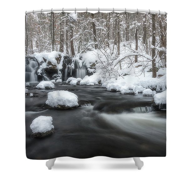 The Secret Waterfall In Winter 2 Shower Curtain