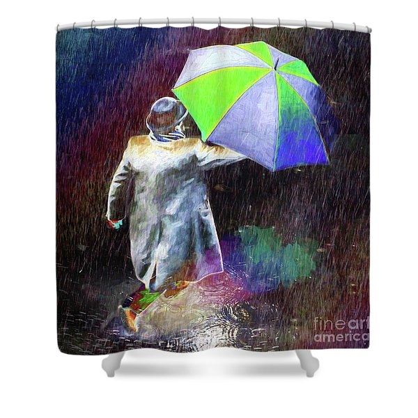 The Sheer Joy Of Puddles Shower Curtain